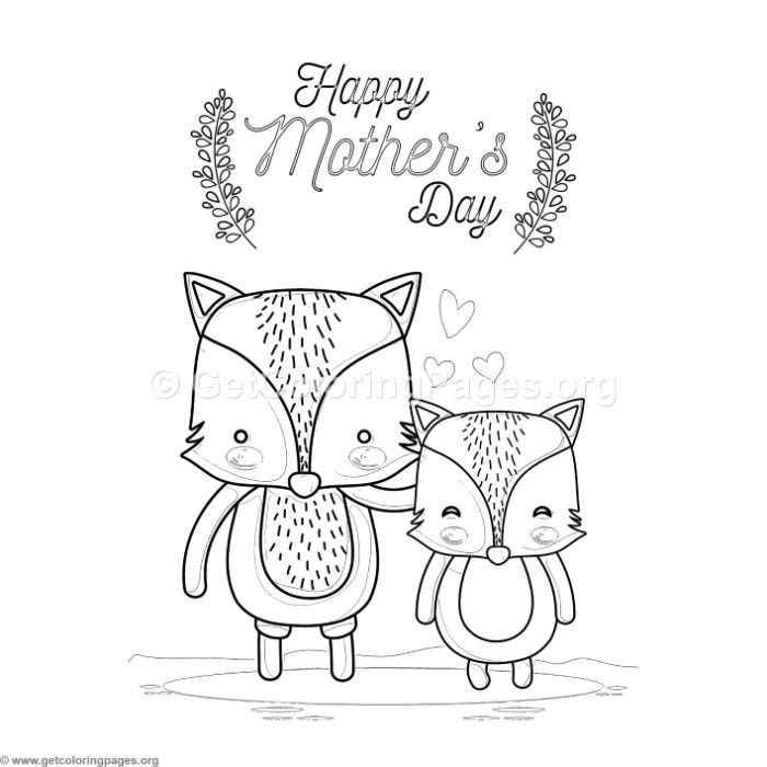 Free Download Cute Cartoon Foxes Happy Mother S Day Card Coloring Pages Coloring Coloringbook Col Coloring Pages Happy Mother S Day Card Free Coloring Pages