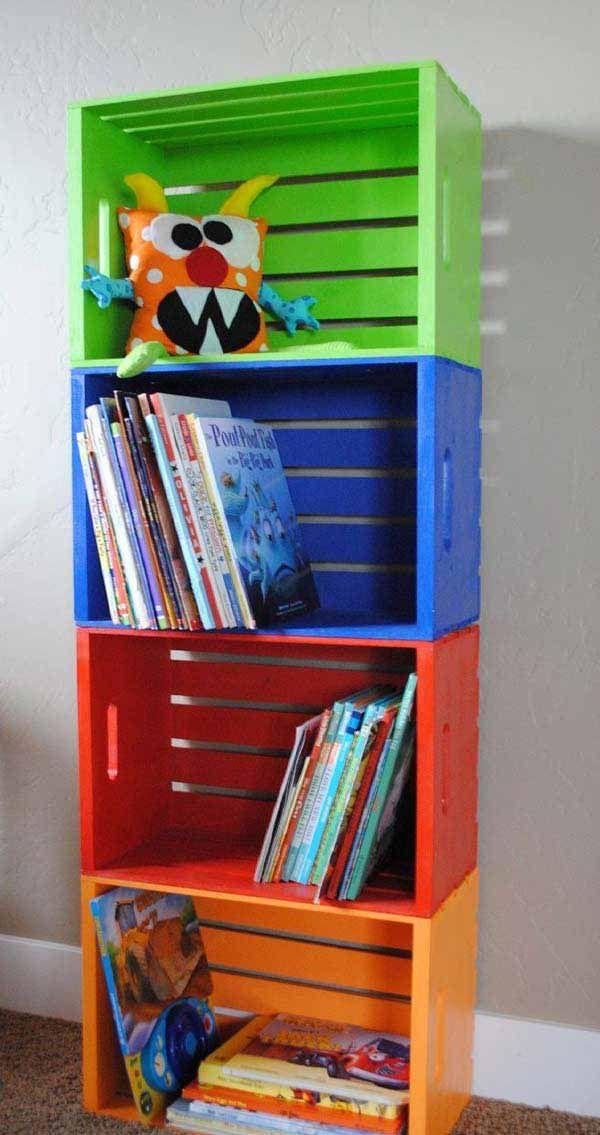 Wooden crates book shelves - 28 Genius Ideas and Hacks to Organize Your Childs Room