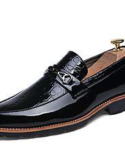 Masculino-Rasos-Sapatos formais-Rasteiro-Preto Branco-Couro Couro Envernizado-Casamento Escritório & Trabalho Festas & Noite