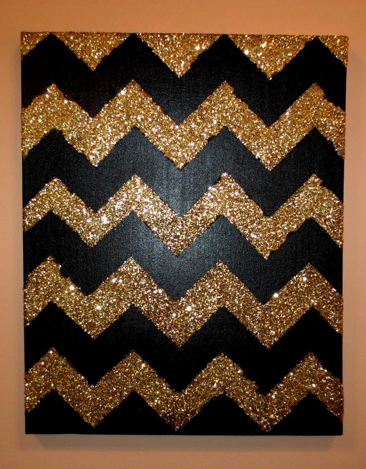 Black and Gold Glitter Chevron Canvas. $75.00, via Etsy.