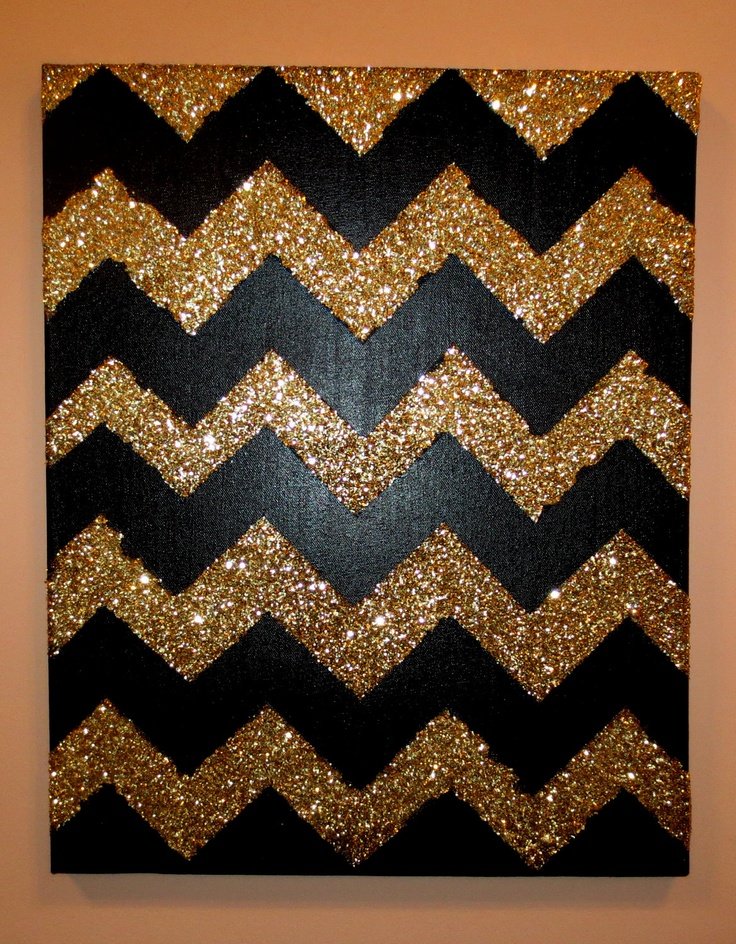 Black and Gold Glitter Chevron Canvas. $75.00, via Etsy.