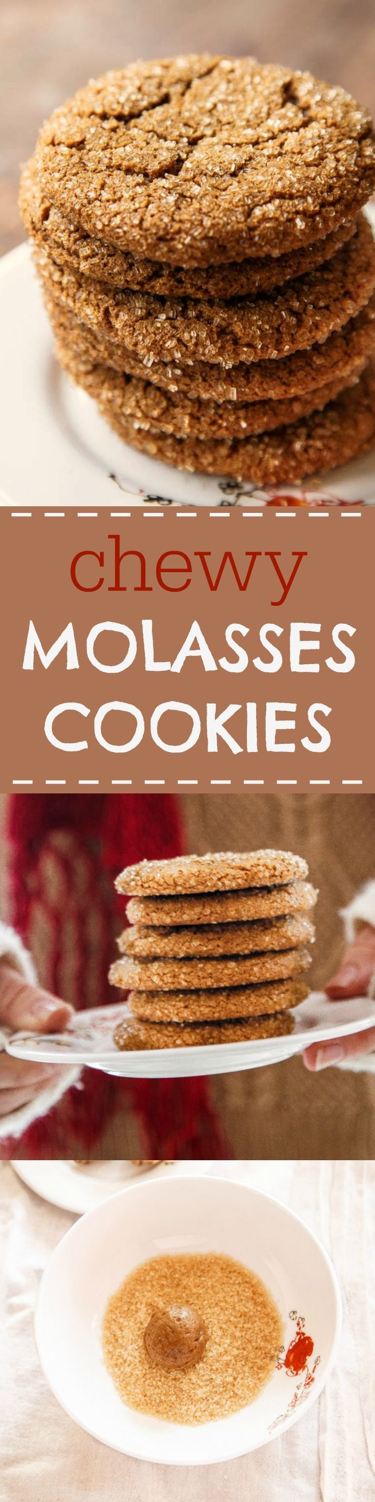 Old fashioned chewy molasses cookies. It's not the holidays without this chewy, crackly, sparkly little cookie! @dessertfortwo