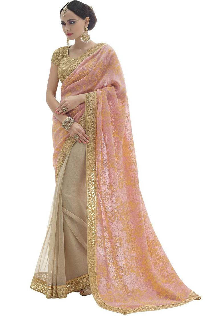Buy Orange Chiffon Designer Saree Online in low price at Variation. Huge collection of Designer Sarees for Wedding. #designer #designersarees #sarees #onlineshopping #latest #lowprice #variation. To see more - https://www.variationfashion.com/collections/designer-sarees
