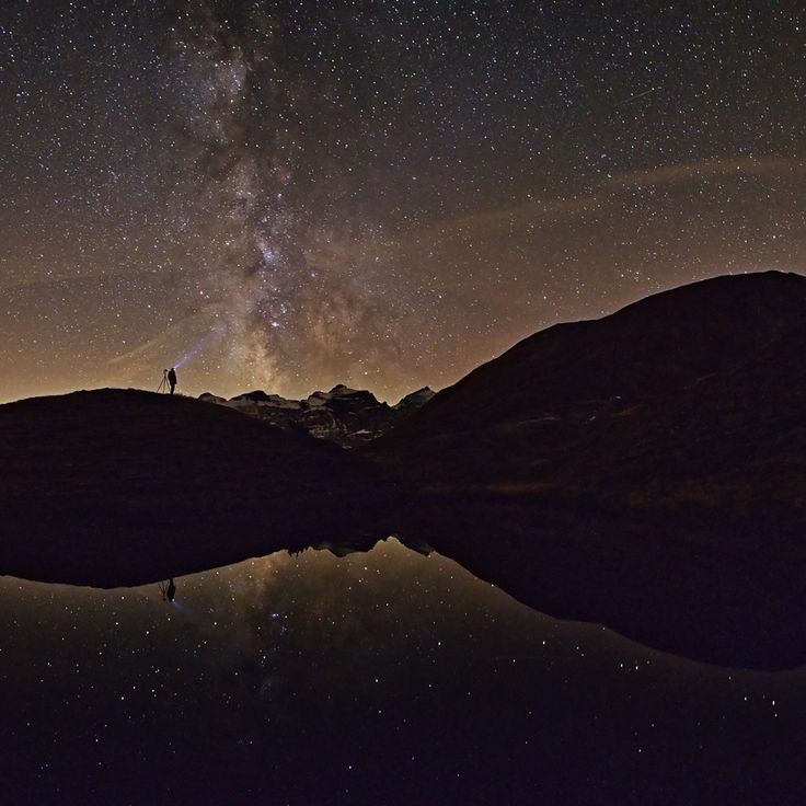 Under the stars photography sky water nature stars mountains beauty amazing man reflection photographer
