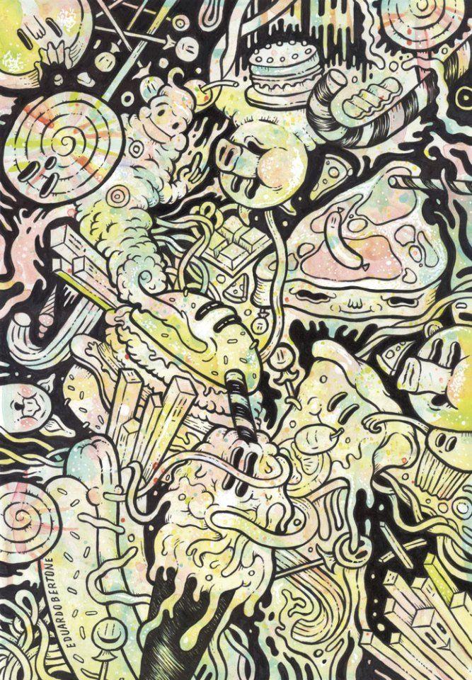 """Eduardo Bertone. Gula Obra original, que pertenece a la exposición colectiva """"Pecado Capital"""", organizada por La Fiambrera Art Gallery Acrílico y rotulador sobre papel"""