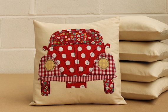VW Beetle Cushion in Red by YouLoveItYouDo on Etsy, £20.00. #almofadas #pillows