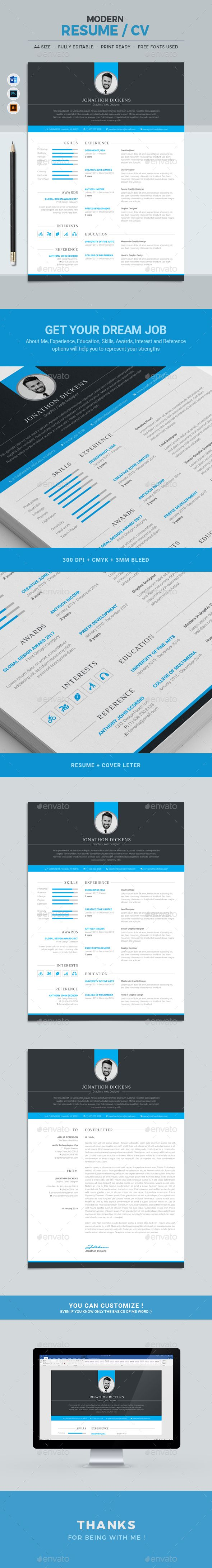Modern & Clean Resume with strong typographic structure is very easy to use and customize. This minimal resume is very well organized and labeled for you to get the best result in the minimum possible time. About Me, Experience, Education, Skills, Award and Reference sections included in this Resume template which will help you to express your strengths and to get your dream job.
