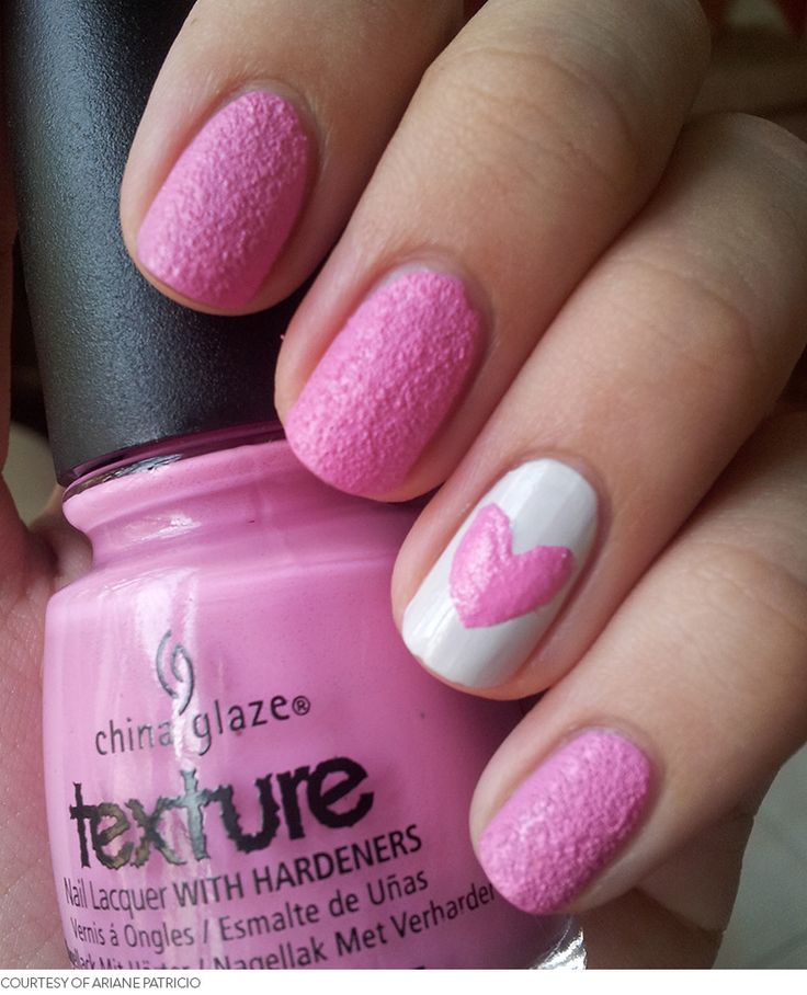 Pink & White Textured Nails