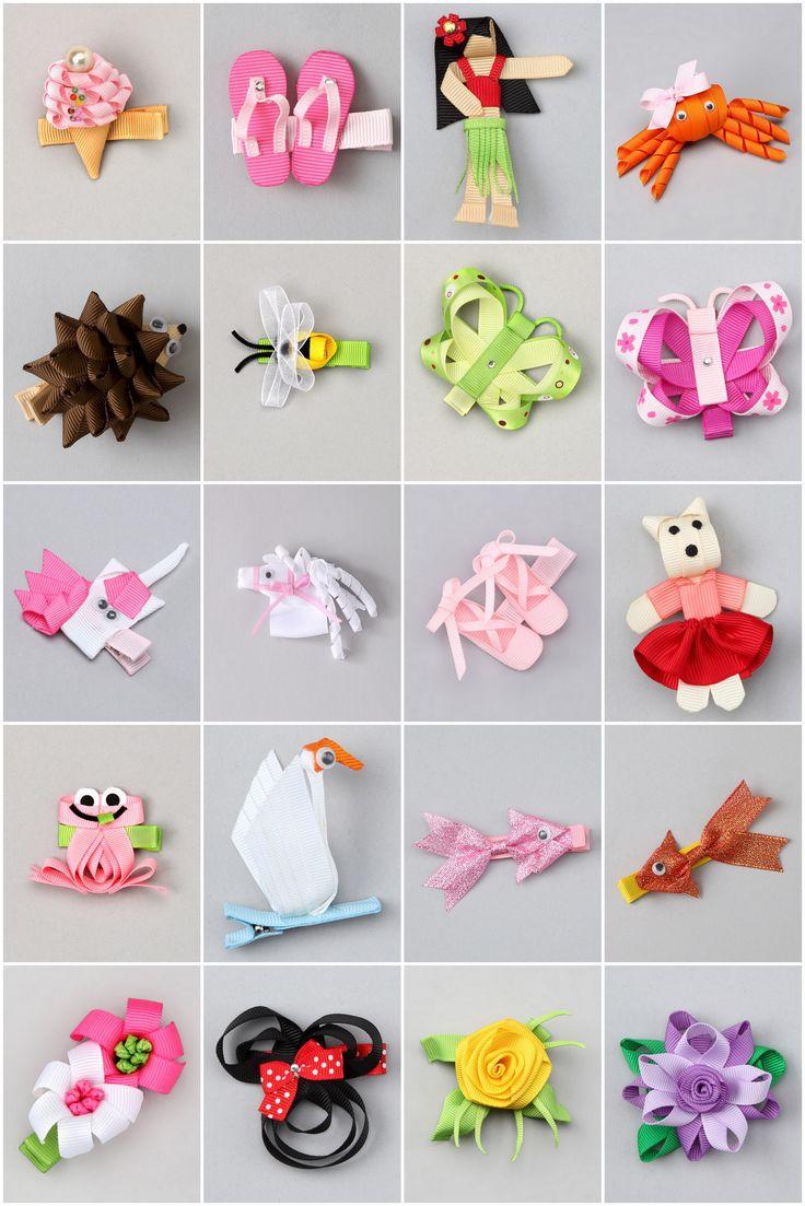 Varias ideas de pequeños adornos, flores animales etc con cinta #ribbons
