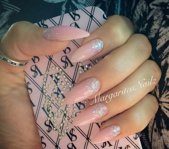 Neutral with Reverse Silver Glitter Fade