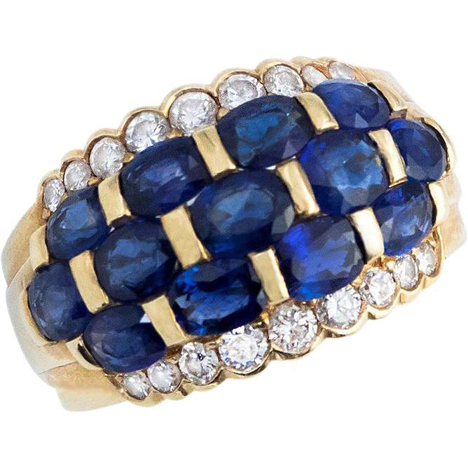 Bodacious Blue Sapphire and Diamond Band -- found at www.rubylane.com #vinatgebeginshere #mondayblues