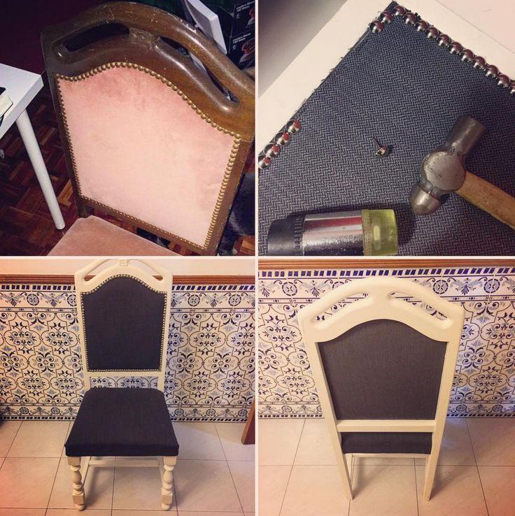 Esta cadeira precisava de mesmo um Up. Ela ganhou pintura em chalky, novo tecido, estofado e ficou como nova. Tens também um móvel maltratado a ser recuperado? Entre em contato através do nosso site julesandlucy.com, teremos imenso prazer em fornecer idéias incríveis para o seu projeto.