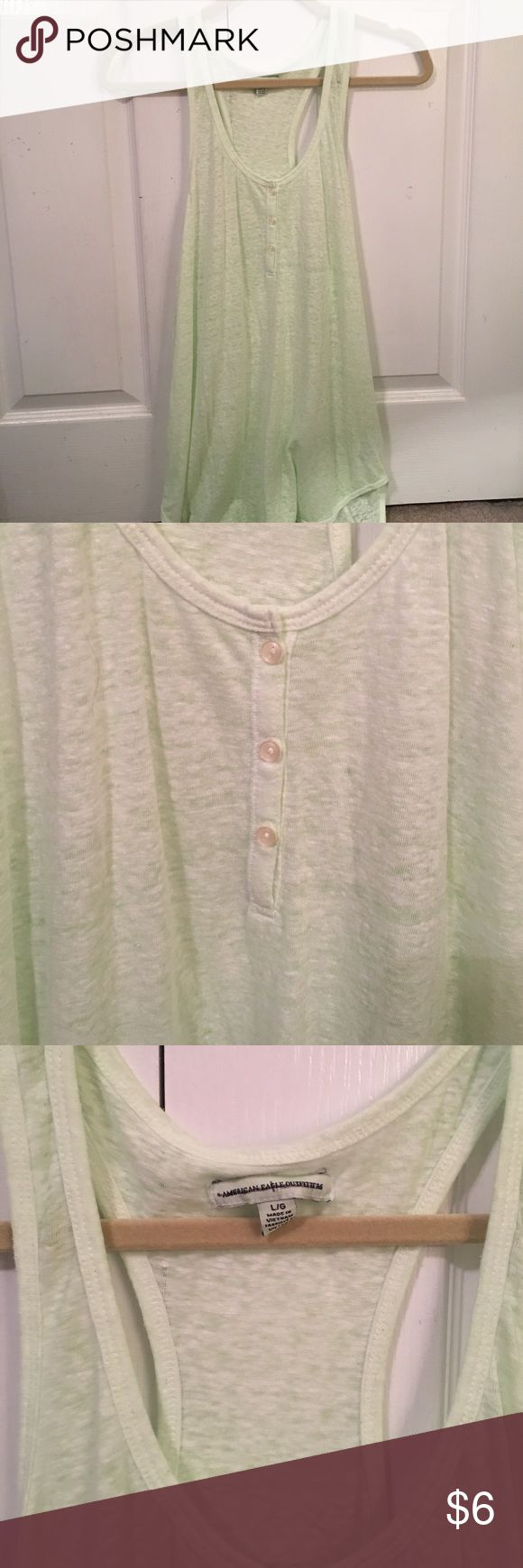 American Eagle Tank Top Light green American Eagle tank top. Very cute for summertime with some jeans shorts. Never worn. 💚 American Eagle Outfitters Tops Tank Tops