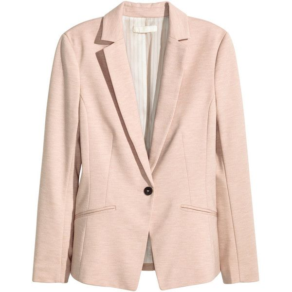 H&M Jersey jacket (£25) ❤ liked on Polyvore featuring outerwear, jackets, blazers, h&m, light pink, fleece-lined jackets, pink jacket, light pink blazer, h&m blazer and jersey blazer