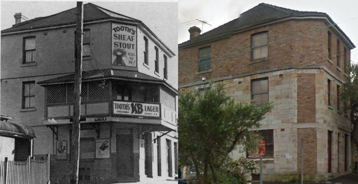 Fmr Rob Roy Hotel in Adolphus St, Balmain c1930>2015. [G'Day Pubs website>2015-Google Street View/by Phil Harvey]