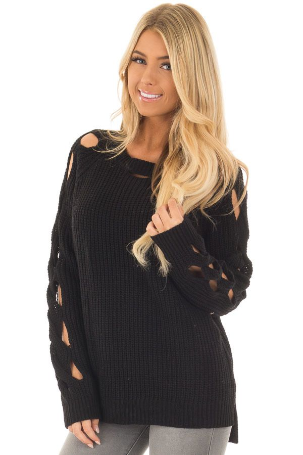 Lime Lush Boutique - Black Long Sleeve Sweater with Cut Out Sleeve Detail, $46.99 (https://www.limelush.com/black-long-sleeve-sweater-with-cut-out-sleeve-detail/)