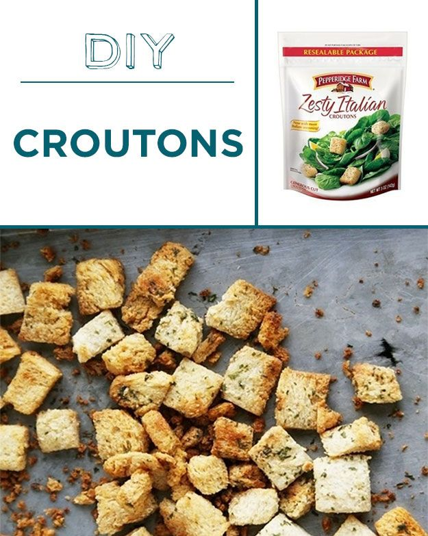 Homemade croutons are way less salty and greasy than the shelf-stable version.