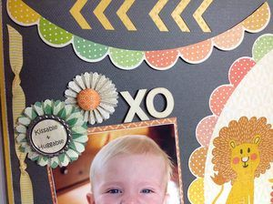"""Friday 21st March 2014 10am – 12pm.     $30 (includes kit).  Featuring the Kaiser """"Hello Sunshine"""" Collection, this fun page is sure to be a hit with that much loved little one in your life.     Kim will teach you to make bottle top embellishments, use ribbon to border your page and how make embellish rosettes.     Textures of wood, metal and fabric defiantly make this page """"eye candy""""."""