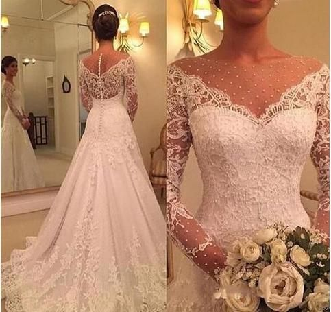 Gorgeous Long Sleeve Lace Wedding Dresses 2019 Bridal Gowns Zipper Back Long Section Tiered Skirts Sheer Neck Straps Wedding Dresses Wipe