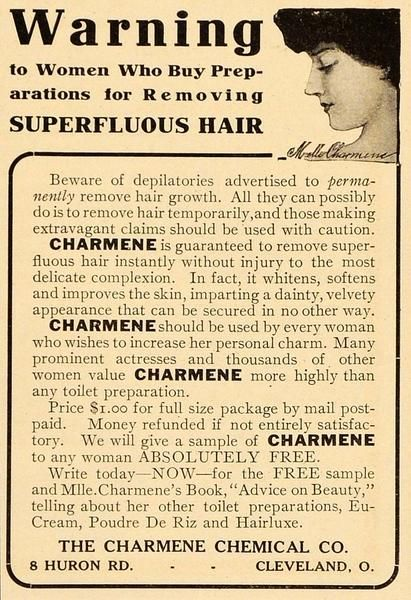 1908 Vintage Ad Charmene Hair Depilatory Removal Cream - ORIGINAL OLD4A - Period Paper