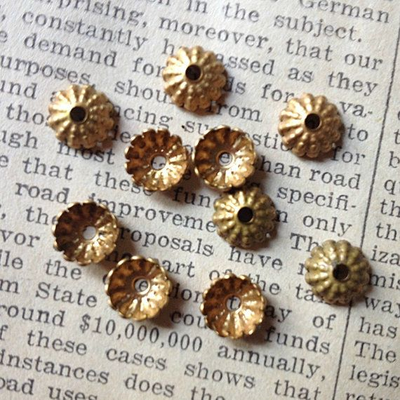Vintage Brass Bead Caps  Tarnished Metal Findings Jewelry