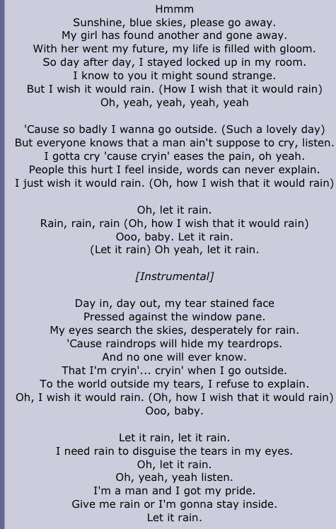 The Temptations - I Wish It Would Rain - 1967  Album = The Temptations Wish It Would Rain  Song   Lyrics  From www.azlyrics.com