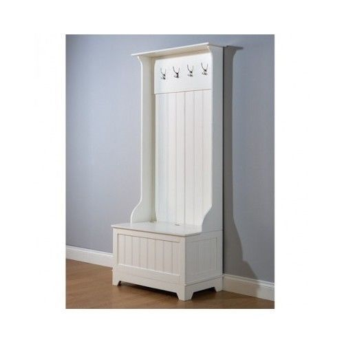 Traditional Hallway Furniture White Storage Unit Country Bench Entry Coat Hooks