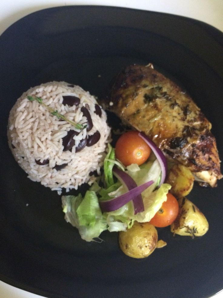 Jamaican rice and peas with lemon and thyme roast chicken