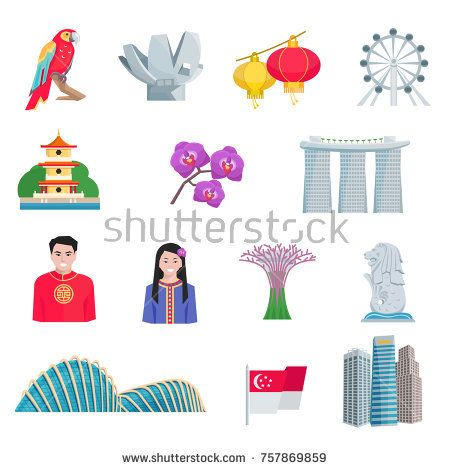 Stock Photo: Singapore tourists attractions with national cultural symbols and landmarks flat icons set abstract isolated illustration