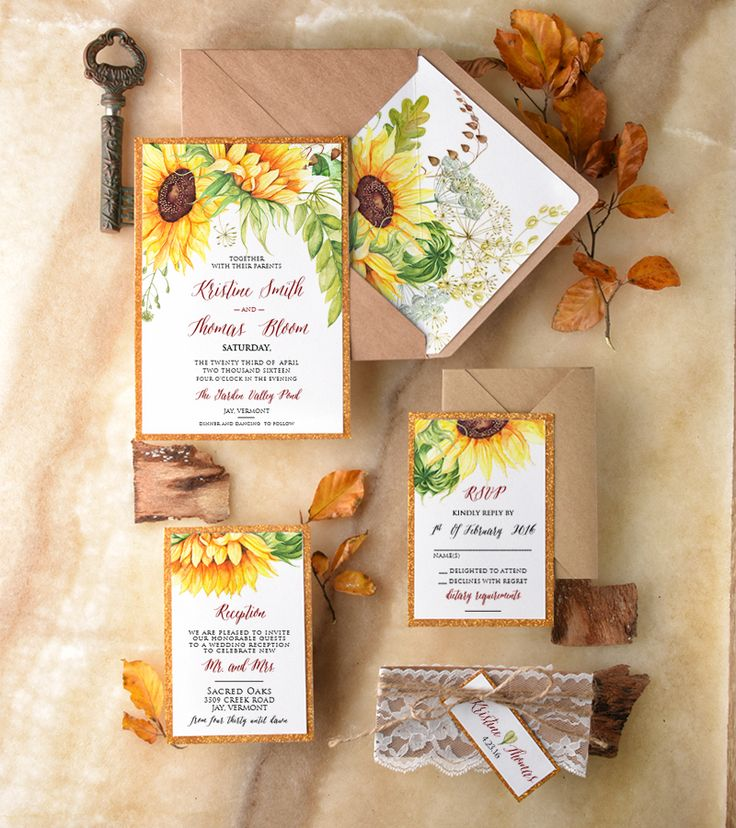Watercolor Sunflower Wedding Invitations with lace wrap