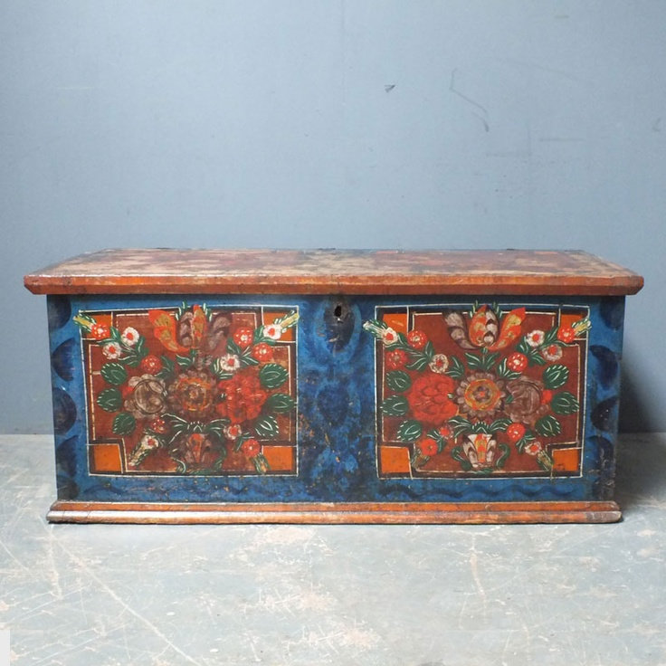 Antique Pine Painted Dowry Chest