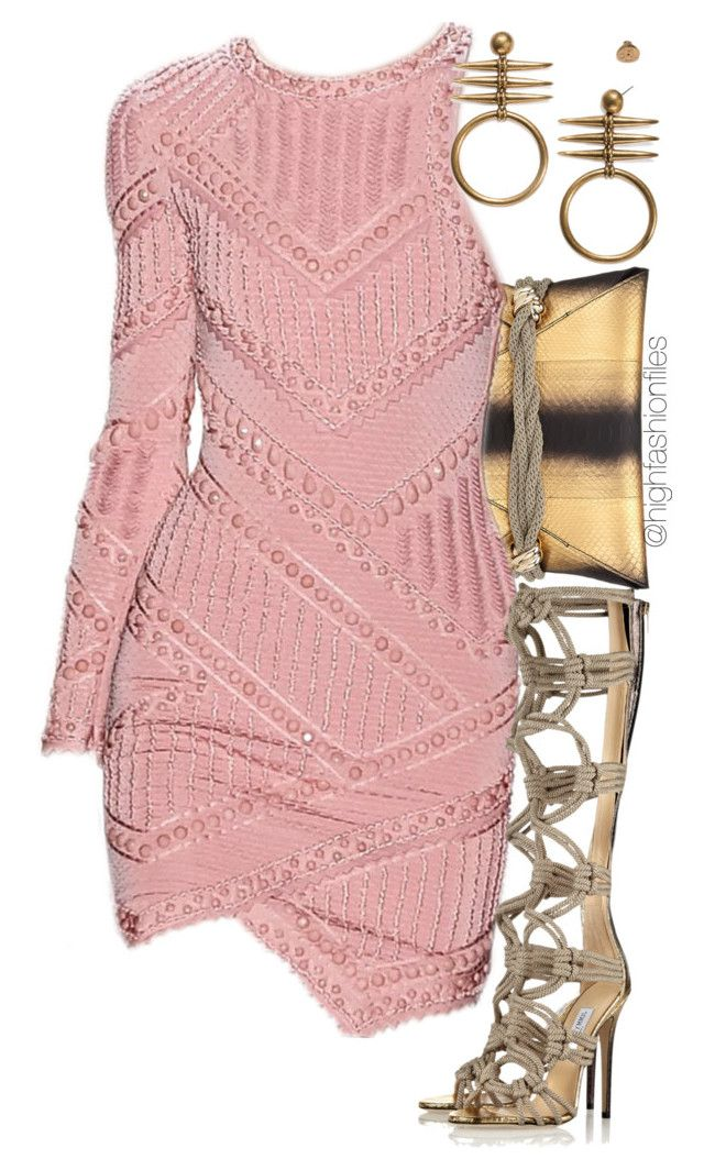 """""""Herve X Choo"""" by highfashionfiles ❤ liked on Polyvore featuring Jimmy Choo and Tory Burch"""