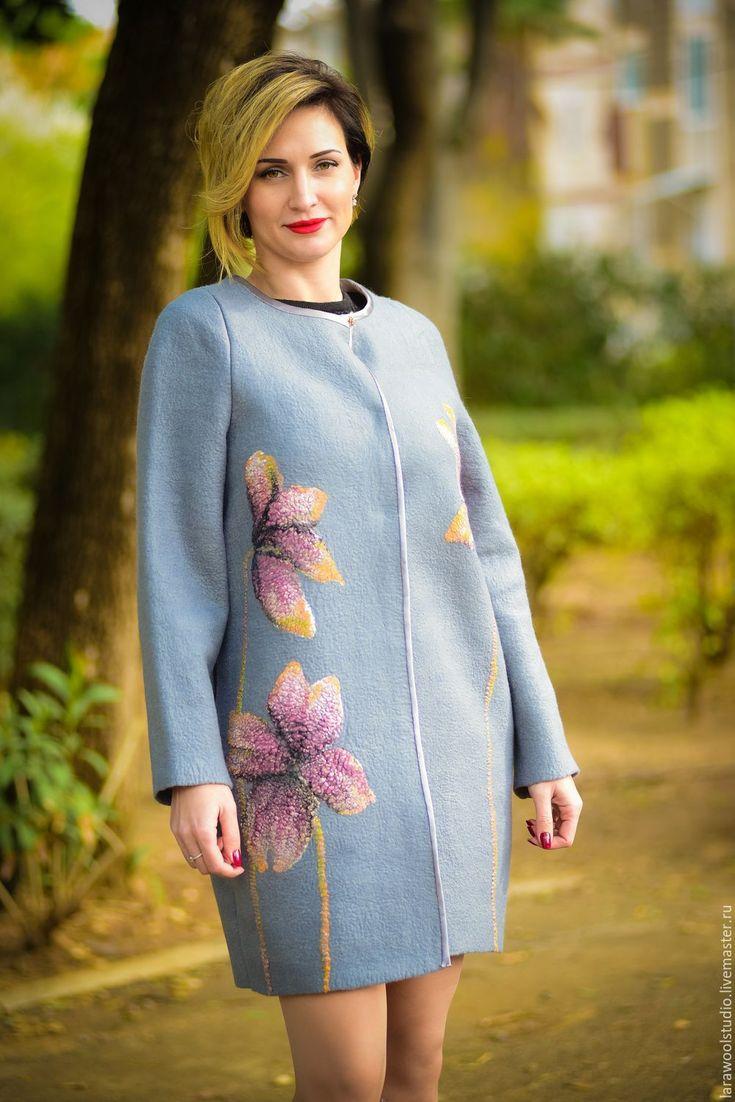 """Купить Пальто """"Магнолии"""" - серый, цветочный, демисезонное пальто, пальто с аппликацией, пальто женское"""