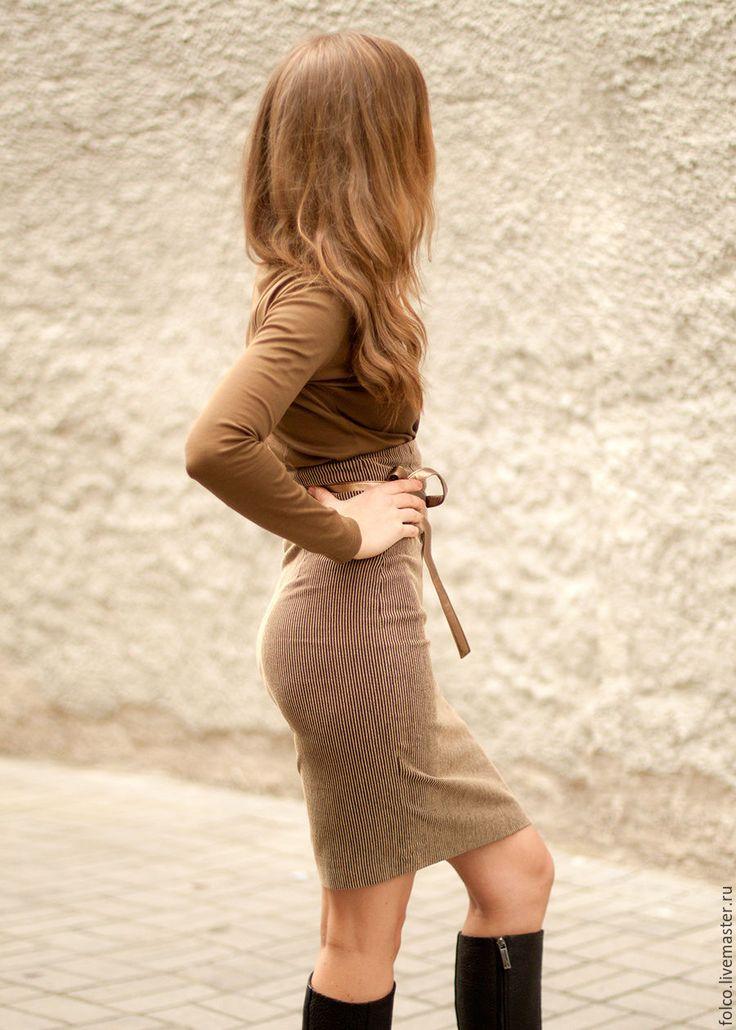 Купить Бежевая Юбка карандаш - бежевый, однотонный, юбка в горох, стильная юбка, бежевая юбка