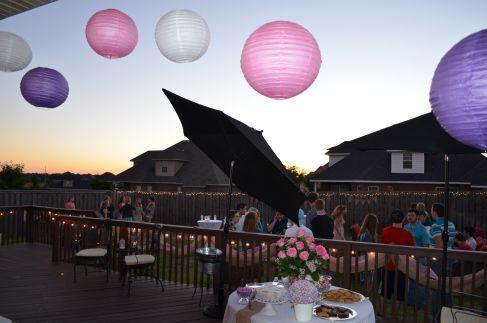 Sweet 16 Backyard Party at dusk