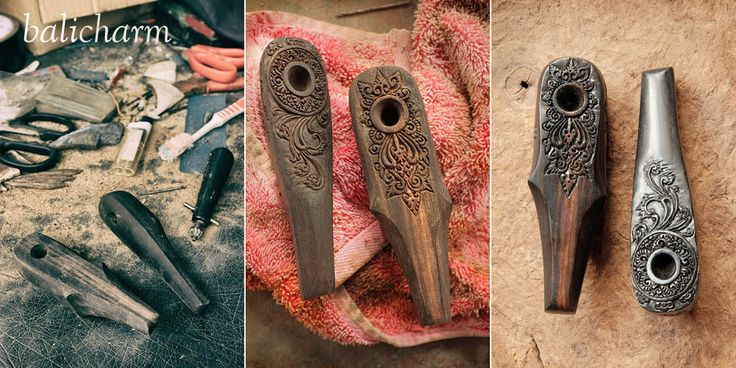 Ebony hash and weed pipes hand-carved in Bali, Indonesia.