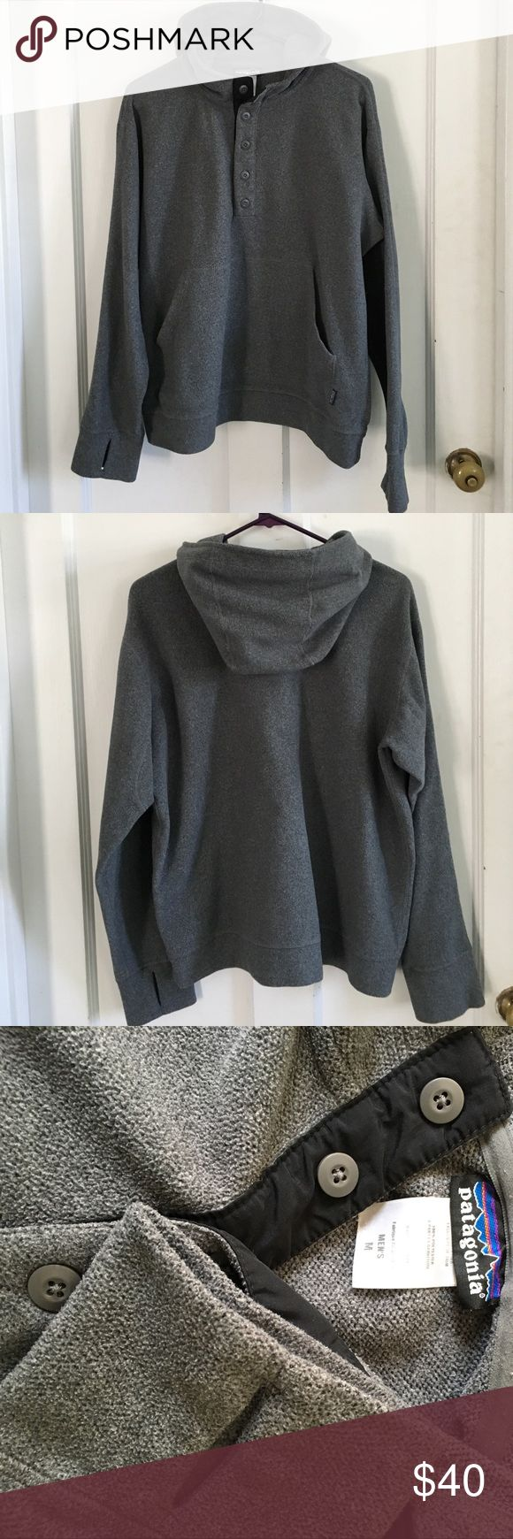 Patagonia Men's Pullover Sweater In Good condition Pullover sweater with hood, thumbs holes and half button front. Great for those cool summer days 🌤 Patagonia Sweaters
