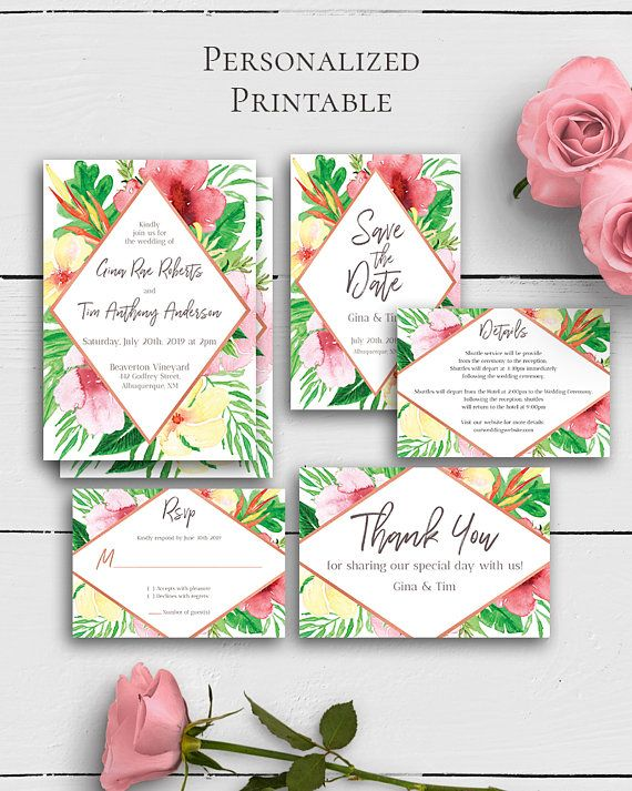 Tropical Wedding Invitation Suite with trendy and vivid tropical floral design in modern wedding style.Build your suite - choose your card combination by Amistyle Digital Art on Etsy