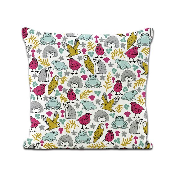 Woodland animals cushion cover