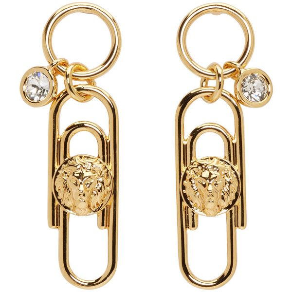 Versus Gold Safety Pin Earrings (530 MYR) ❤ liked on Polyvore featuring jewelry, earrings, gold, gold drop earrings, charm pendants, yellow gold earrings, engraved pendants and yellow gold drop earrings