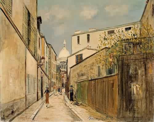 Church of Le Sacre Coeur from rue Saint Rustique by Maurice Utrillo