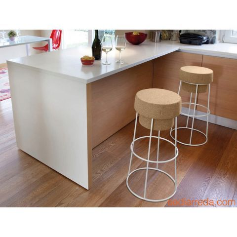 Bouchon - Domitalia stool with white varnished metal structure
