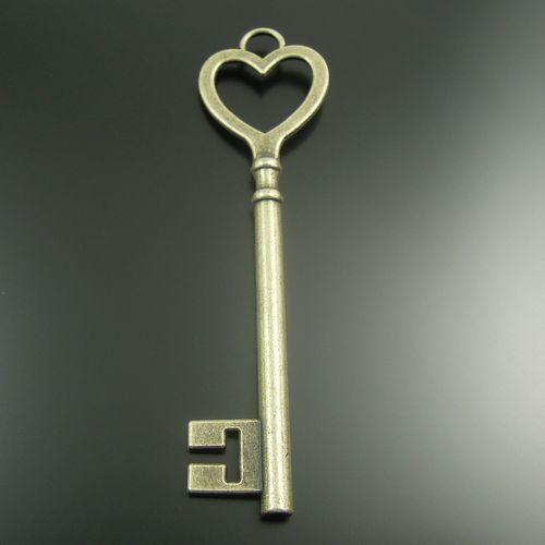Style+de+Bronze+Pendentif+Coeur+de+clé+antique+10X+de+Bijoux+Vintage+sur+DaWanda.com