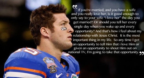 "I am not a fan of the Tim Tebow ""bandwagon"" but I love that he isnt ashamed of his beliefs"