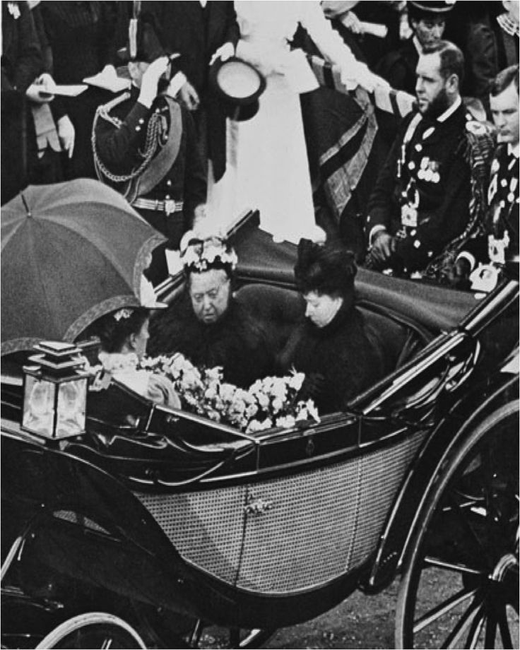 Queen Victoria with Princess Beatrice, and Princess Helena at Cowes, Isle of Wight, 1897