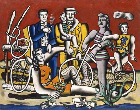 """""""Les loisirs sur fond rouge"""" by Fernand Léger, 1949. Au Musée Fernand Léger, Biot."""
