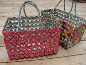 bottle cap basket - what a useful and interesting way to recycle caps.  Better start saving them now.
