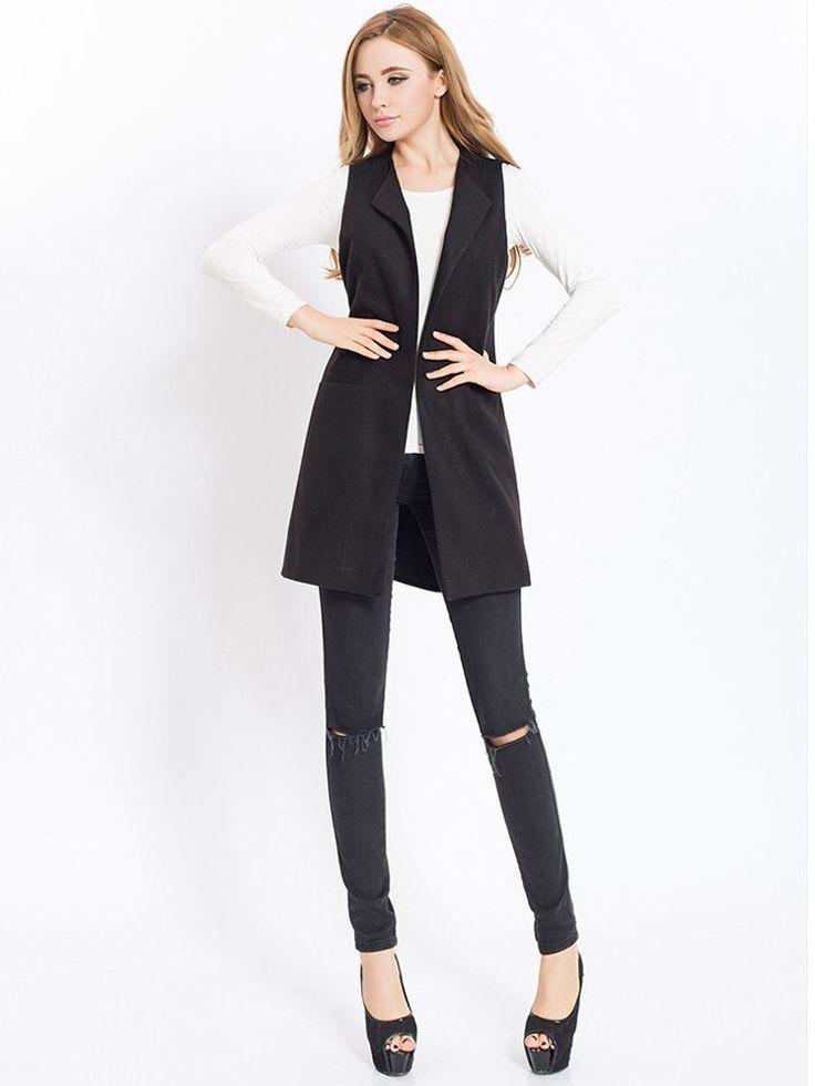 Trendy Women Casual Solid Color Sleeveless Vest Coat Online - NewChic