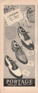 Popular Styles of 1940's Shoes for Men -  In the 40′s all variations and styles of mens shoes came in two-tone combinations. Basic lace ups, fancy wingtips, slip-ons and occasionally boots all came in two-tone varieties.