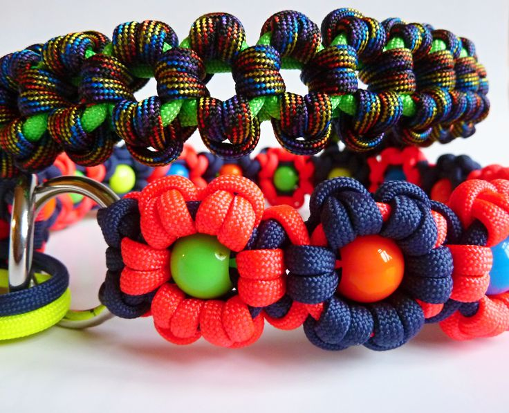 DIY paracord martingale dog collars with stainless steel rings - neon pink, dark blue beaded Aztec Sun Bar and neon green, destiny Aztec Sun Bar dog collar